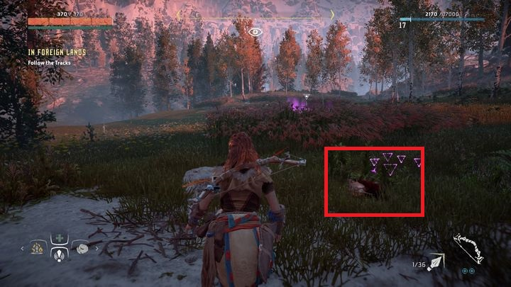 At the end of the track you find a soldiers helmet which must be investigated - In Foreign Lands | Daytower side quests - Daytower - Horizon Zero Dawn Game Guide