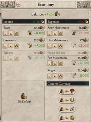 In the economy window, you can view taxation levels and your expenses on military, fleet, or wages. - Economy - taxes, buildings and policies in Imperator Rome - Basic tips - Imperator Rome Guide