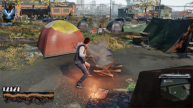 To regenerate smoke supplies, you can use chimneys, car wreckages or some bonfires - Smoke - Delsins powers - inFamous: Second Son - Game Guide and Walkthrough