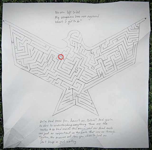 Once again, return to the drawing with the labyrinth connected with the origami dove 16 - Chapter 6, part 1 - things to do outside the game - inFamous Paper Trail - inFamous: Second Son - Game Guide and Walkthrough