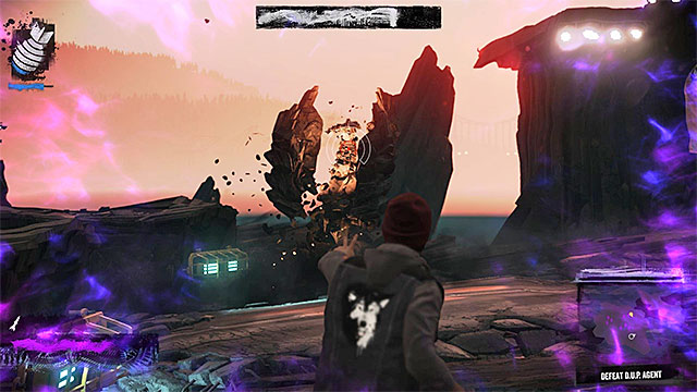 Theoretically, you can attack the boss with all available ranged attacks (do not try to get near it - melee combat is not an option), but the best result comes from using a combination of Laser Insight and Phosphor Beam - 8: The Test - Walkthrough - inFamous: Second Son - Game Guide and Walkthrough