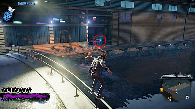 The drone is on the balcony over the water - Waterfront - more difficult activities - City - inFamous: Second Son - Game Guide and Walkthrough