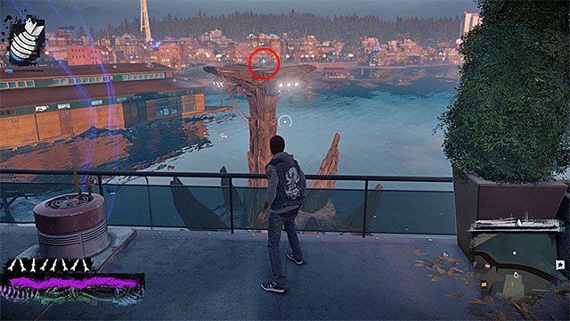 Another shard that is difficult to obtain is located on the platform above the water, as shown in the picture above - Waterfront - more difficult activities - City - inFamous: Second Son - Game Guide and Walkthrough