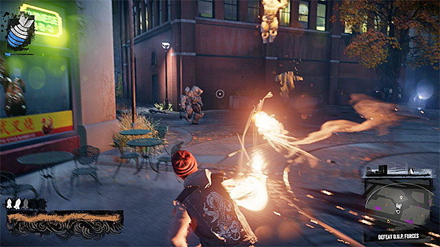 Use the strongest attacks and regularly refill energy reserves - Waterfront - District Showdown - City - inFamous: Second Son - Game Guide and Walkthrough