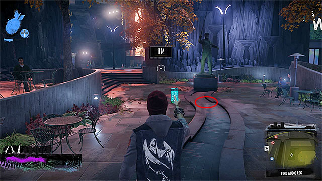 3) Audio Log - Once you start searching for the audio log, you need to examine the nearby square with a fish statue - Downtown - more difficult activities - City - inFamous: Second Son - Game Guide and Walkthrough