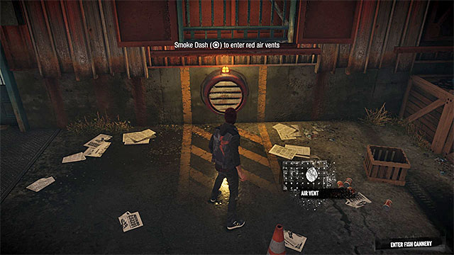 Move towards the cannery gate and after you realize that it is close, listen to the local characters - Prologue: The Visitors - Walkthrough - inFamous: Second Son - Game Guide and Walkthrough