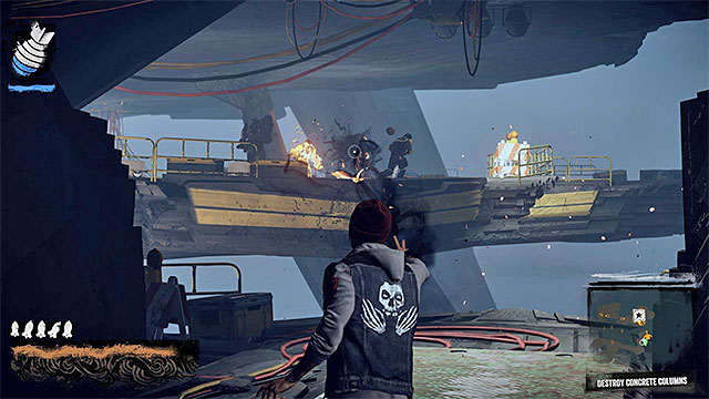 Enemy with a minigun can deal huge damage, so be careful - 15: Quid pro Quo - exploration of the prison - Walkthrough - inFamous: Second Son - Game Guide and Walkthrough