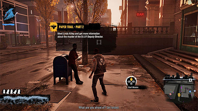 Here you begin another inFamous Paper Trail mission - Chapter 2, part 2 - things to do in the game - inFamous Paper Trail - inFamous: Second Son - Game Guide and Walkthrough