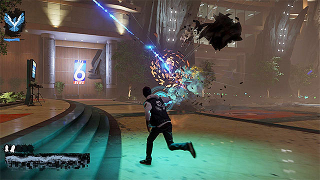 Do not stop anywhere, to prevent being hit with a big fragment of concrete - 17a: Expose Augustine - defeating Augustine - Walkthrough - inFamous: Second Son - Game Guide and Walkthrough