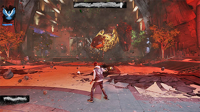 The Concrete Shrapnel allows you to launch simple ranged attack - 17a: Expose Augustine - defeating Augustine - Walkthrough - inFamous: Second Son - Game Guide and Walkthrough