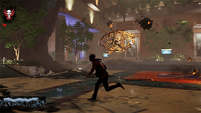 Do not stop anywhere, to prevent being hit with a big fragment of concrete - 17b: Kill Augustine - defeating Augustine - Walkthrough - inFamous: Second Son - Game Guide and Walkthrough