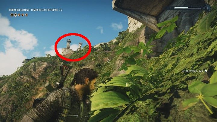 Stand near the foothill and notice a protruding part of a building - Tomb Tumba De Los Tres Ninos - Tomb Locations - Just Cause 4 Guide