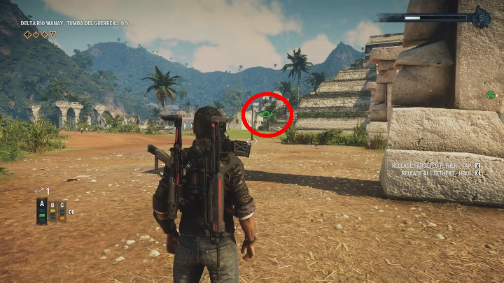 The circle to which you have to lead your head is a little further away - Tomb Tumba Del Guerrero - Tomb Locations - Just Cause 4 Guide