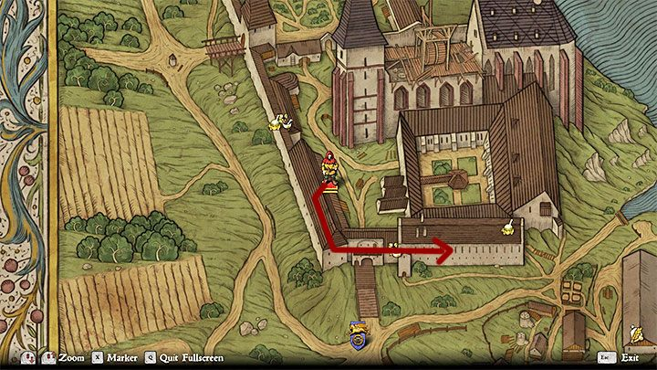 Enter the monastery from the south by crossing the draw bridge - Where can I find the Necronomicon in Sasau Monastery in Kingdom Come Deliverance? - FAQ - Kingdom Come Deliverance Game Guide