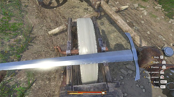 You can repair weapons by reaching grindstones - How to repair a damaged weapon or a piece of armor in Kingdom Come Deliverance? - FAQ - Kingdom Come Deliverance Game Guide