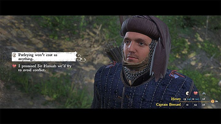 For the purpose of this option, you will have to suggest a peaceful solution to the conflict during your conversation with Bernard (second dialogue option) - Rattay | Side quests in Kingdom Come Deliverance - Side quests - Kingdom Come Deliverance Game Guide