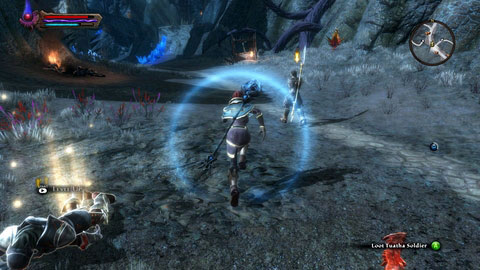 When the mage is dead, jump down and help Desiderus - Shadow Pass - Side missions - Kingdoms of Amalur: Reckoning - Game Guide and Walkthrough