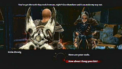 After returning to the prisoner, you will be able to decide whether you want to hand him over the items or keep them for yourself - Haxhi - p. 2 - Side missions - Kingdoms of Amalur: Reckoning - Game Guide and Walkthrough