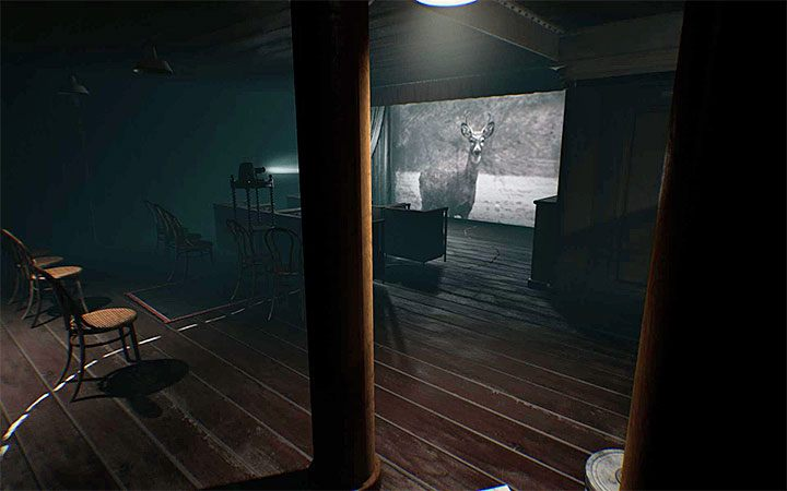 You will get to the projector room soon after you solve the riddle with the safe - The first projector riddle | Layers of Fear 2 Riddle Solutions - Act 1 - The Unmooring - Layers of Fear 2 Guide