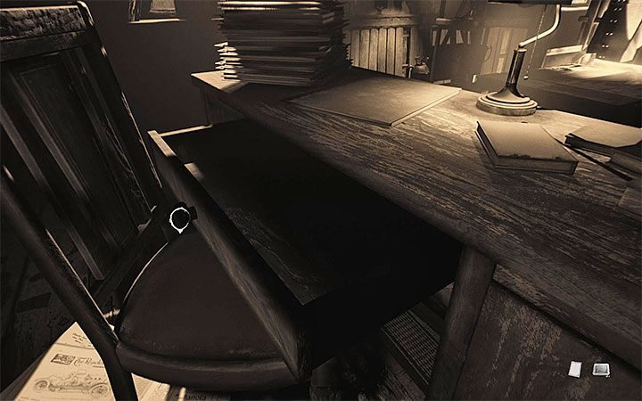 In the office, examine the dimly lit shelf to find a new drawing - Office | Layers of Fear 2 walkthrough - Act 3 - Bloody Roots - Layers of Fear 2 Guide
