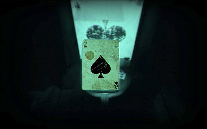 In the new version of the bedroom, approach the house of cards and interact with it to get a card (ace) - The bedroom riddle | Layers of Fear 2 Riddle Solutions - Act 3 - Bloody Roots - Layers of Fear 2 Guide
