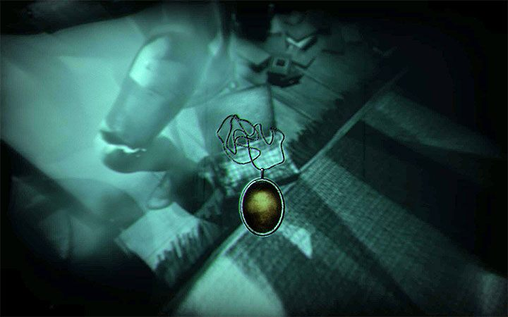 You can pick up the necklace from the folder lying at the feet of the right dummy - The bedroom riddle | Layers of Fear 2 Riddle Solutions - Act 3 - Bloody Roots - Layers of Fear 2 Guide