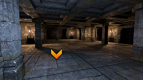 In order to open grate (B), you need to place three torches into the empty handles on the walls of the basement (1, 2 and 3) - Level 9: Goromorg Temple I - Walkthrough - Legend of Grimrock - Game Guide and Walkthrough
