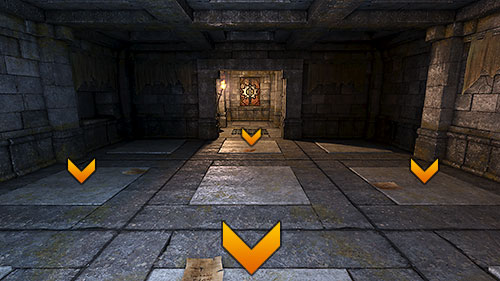 Out of nine pressure plates found here, hold down four with any items you like, as seen above (I used some old Toorum's Notes) - Level 9: Goromorg Temple I - Walkthrough - Legend of Grimrock - Game Guide and Walkthrough