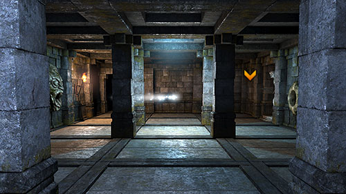 In order to cross this room to the other side and open the door, you will have to head into the middle of the room when the trap doors close and therefore block the path of the projectile - Level 7: Ancient Chambers - Walkthrough - Legend of Grimrock - Game Guide and Walkthrough