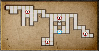 (1) - you can reach this part of the underground by jumping into one of the trap doors at point (8) - Level 4: Archives - Walkthrough - Legend of Grimrock - Game Guide and Walkthrough