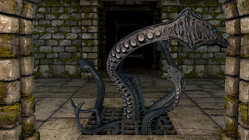 After heading through the portal in this part of the underground you will be attacked by a Tentacle, a powerful but stationery enemy - Level 4: Archives - Walkthrough - Legend of Grimrock - Game Guide and Walkthrough