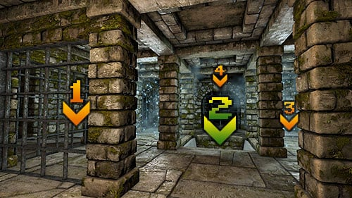 There are two moving portals, divided by three squares - Level 3: Pillars of Light - Walkthrough - Legend of Grimrock - Game Guide and Walkthrough