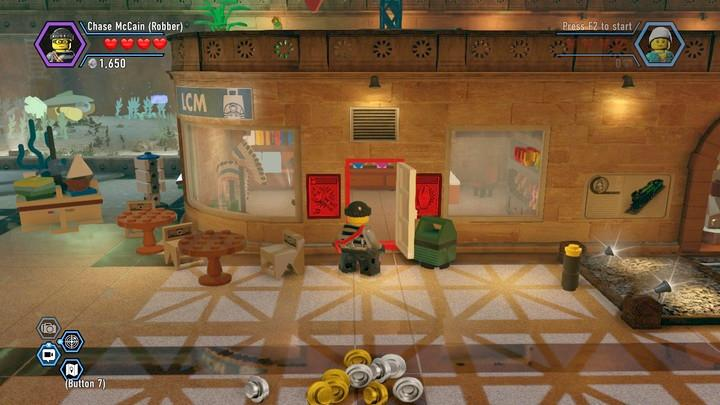 In the shop, there is a lever - Museum burglary | Walkthrough - Chapter 10 - LEGO City: Undercover Game Guide