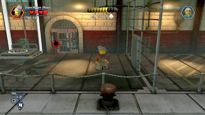 Blow up the grate in the first area and unlock access to color swapper - Fireman training | Walkthrough - Chapter 10 - LEGO City: Undercover Game Guide