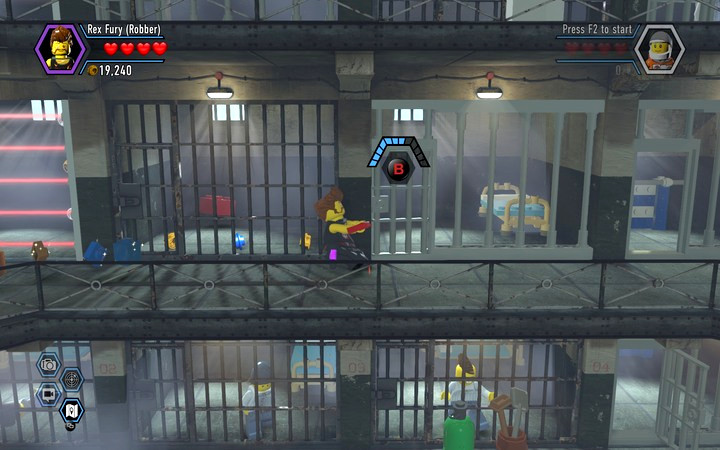 Open the neighboring cell in order to break through the wall and collect the brick - Secrets in the prison | Chapter 3 - Chapter 3 - LEGO City: Undercover Game Guide