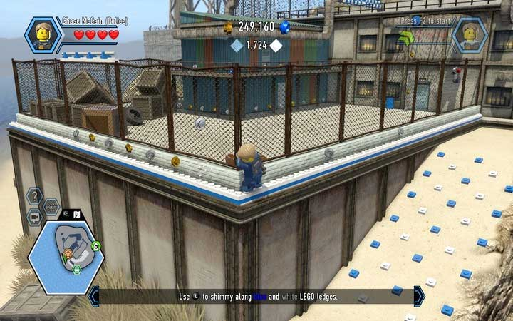 Go along the edge to the place, where you can jump the fence - The prison island | Chapter 3 - Chapter 3 - LEGO City: Undercover Game Guide