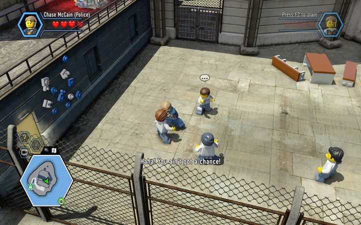 You have to beat several opponents - pay attention when one is preparing to strike - The prison island | Chapter 3 - Chapter 3 - LEGO City: Undercover Game Guide