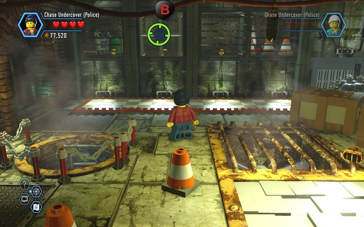 Get to the TNT by destroying the grate and jumping up using the box (first, you need to build it) - Robbing the gem from the bank | Chapter 6 - Chapter 6 - LEGO City: Undercover Game Guide