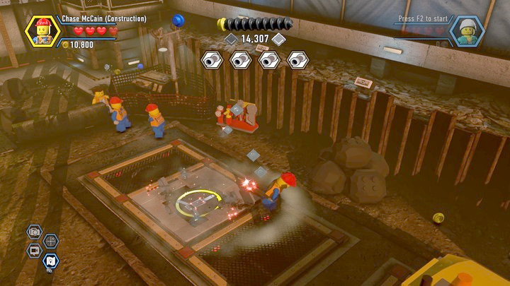 You can now drill into the moving plates on the ground - Construction site | Chapter 12 | Walkthrough - Chapter 12 - LEGO City: Undercover Game Guide
