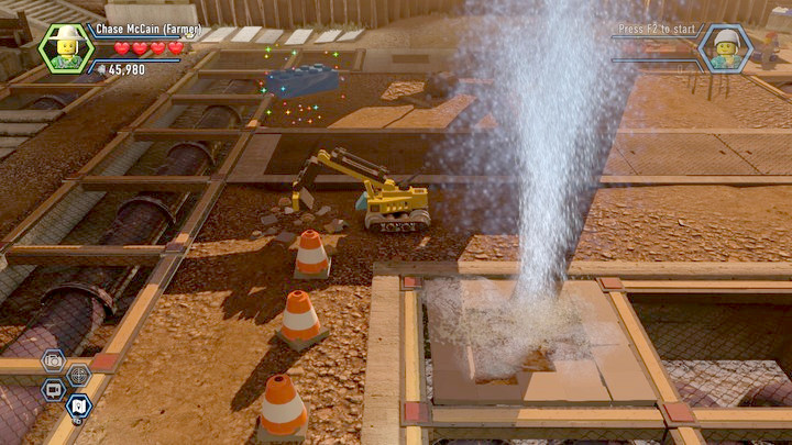 You will obtain one of the bricks by digging it out with the excavator. You obtain the second one by using the water torrent from the underground pipe - Construction site | Chapter 12 | Walkthrough - Chapter 12 - LEGO City: Undercover Game Guide