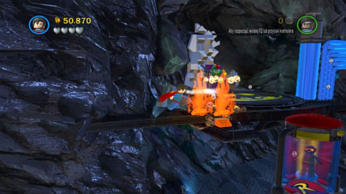 Use Superman to extinguish fire (picture) and outfit Robin into the magnetic suit - Unwelcome Guests | Walkthrough - Walkthrough - LEGO Batman 2: DC Super Heroes Game Guide & Walkthrough