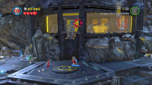 Move to the central rock and start heading right to the room with yellow glasses - Unwelcome Guests | Walkthrough - Walkthrough - LEGO Batman 2: DC Super Heroes Game Guide & Walkthrough