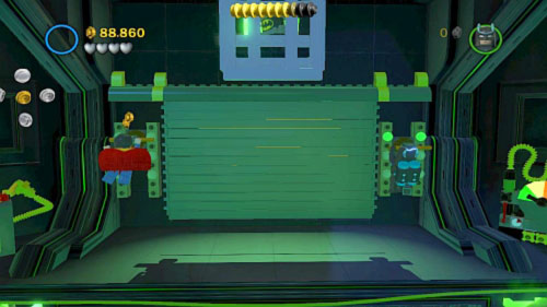 Now move to the top right corner and use electric current on the device (the platform will lower) Move up and use both heroes to hang on two levers (picture) - Destination Metropolis | Walkthrough - Walkthrough - LEGO Batman 2: DC Super Heroes Game Guide & Walkthrough
