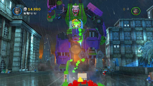 When enemy is hurt start shooting to his chest (picture) until the orange bar decreased to zero - Core Instability | Walkthrough - Walkthrough - LEGO Batman 2: DC Super Heroes Game Guide & Walkthrough