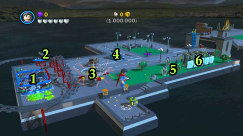 In order to finish this level you have to pick up 1,000,000 coins (multiplier from red bricks are off) so you must destroy almost every object on the map - Bonus level - Walkthrough - LEGO Batman 2: DC Super Heroes - Game Guide and Walkthrough