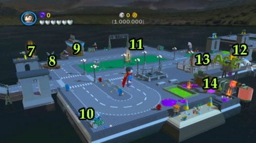 7 - Sensors suit - you can get him using magnetic suit (look at #13 - then move to the pillar on the left side of the bridge, get to the top using blue pipes and fly on the right pillar) or you can use Superman - Bonus level - Walkthrough - LEGO Batman 2: DC Super Heroes - Game Guide and Walkthrough