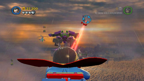 #01 - 05 - During flight on the sky will show up containers with two balloons (two at the beginning of the mission and three after destroying one of the engine) - Down to Earth | Minikits - Minikits - LEGO Batman 2: DC Super Heroes Game Guide & Walkthrough