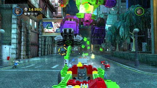 #04 - On one of the buildings on the left side you will see advertisement with big green L, destroy it - Core Instability - Minikits - LEGO Batman 2: DC Super Heroes - Game Guide and Walkthrough