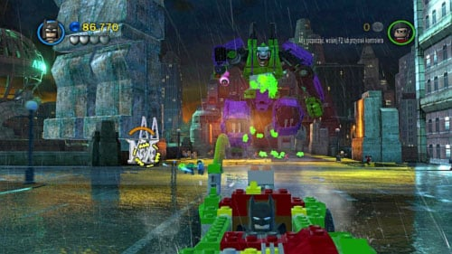 #08 - To damage robot you have to shoot at silver pillars - shoot at three various ones and you will get this minikit - Core Instability - Minikits - LEGO Batman 2: DC Super Heroes - Game Guide and Walkthrough
