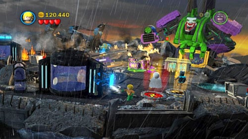 #08 - On the roof during fight with robot, move to the left down corner and fill the tank with water - Tower Defiance - Minikits - LEGO Batman 2: DC Super Heroes - Game Guide and Walkthrough